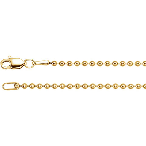 14K Yellow Gold 1.8mm Hollow Bead 18-Inch Chain