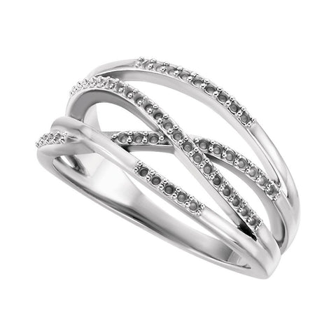 14k White Gold Criss-Cross Ring Mounting, Size 7