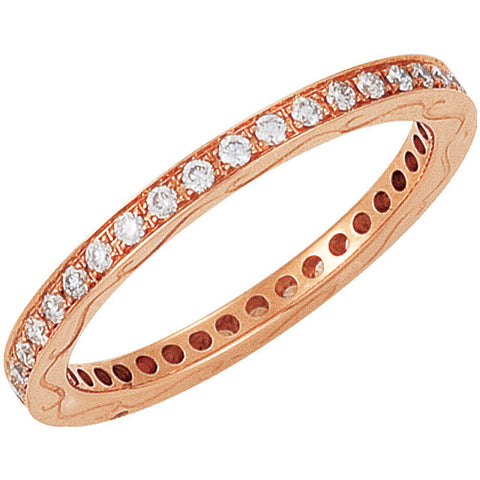 14k Rose Gold 3/8 CTW Diamond Eternity Band Size 6.5