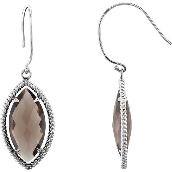 Sterling Silver Smoky Quartz Rope Design Earrings