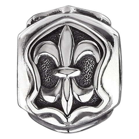 Sterling Silver 13x13mm Triangular Fleur de Lis Bead