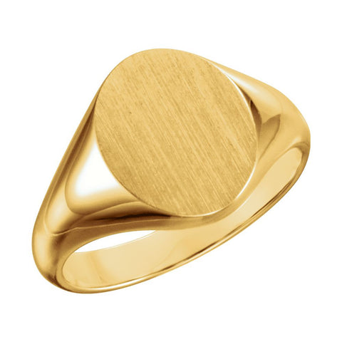 14k Yellow Gold 9.5x11mm Oval Signet Ring , Size 6