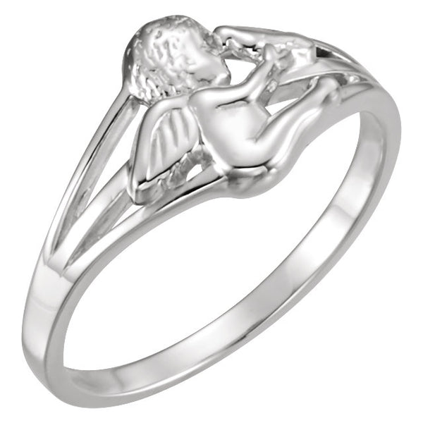 Sterling Silver Cherub Ring, Size 7