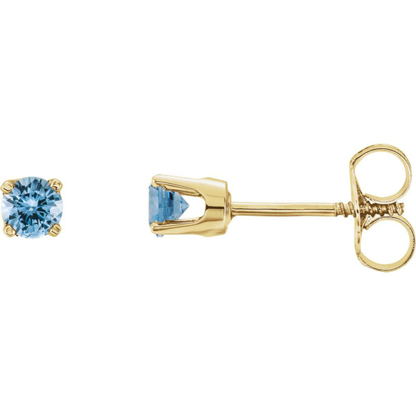 14k Yellow Gold Aquamarine Youth Earrings