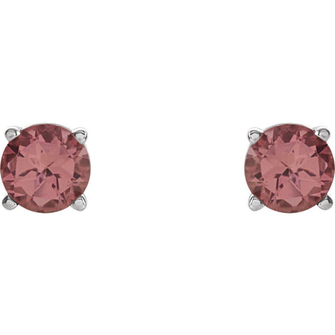 14k White Gold 6mm Round Pink Tourmaline Friction Post Stud Earrings