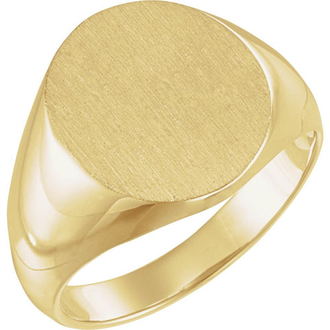 16.00X14.00 mm Men's Solid Oval Signet Ring with Brush Finished Top in 10k Yellow Gold ( Size 10 )