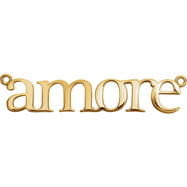 "14k Yellow Gold ""Amore'"" Neck Trim 5.5X31.25mm Pendant Mounting"