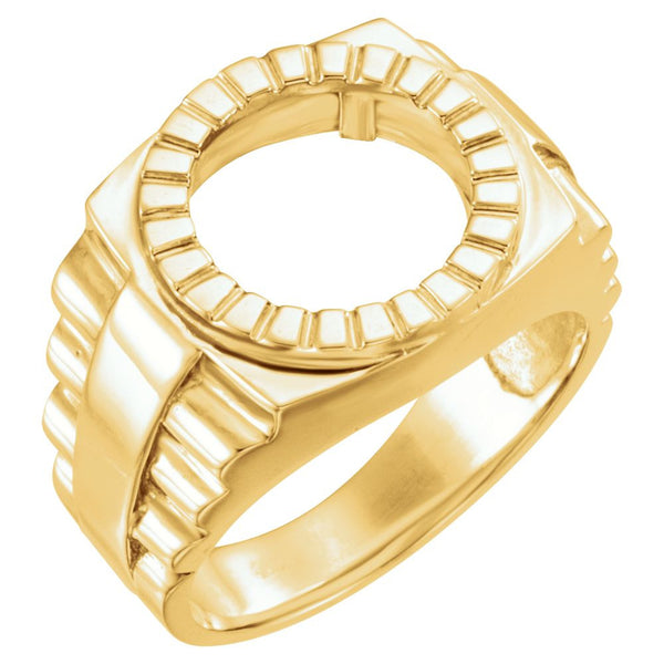 14k Yellow Gold Men's Coin Ring, Size 10
