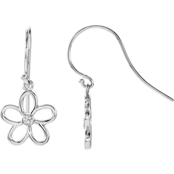 Sterling Silver .06 CTW Diamond Flower Earrings