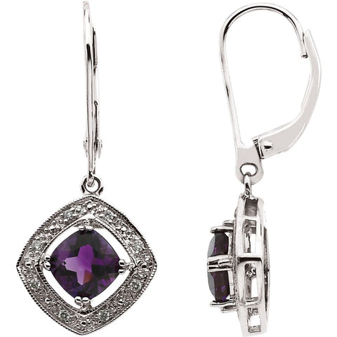 14k White Gold .08 CT w Diamond & Amethyst Earrings