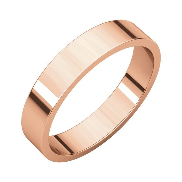 10k Rose Gold 4mm Flat Band, Size 10.5