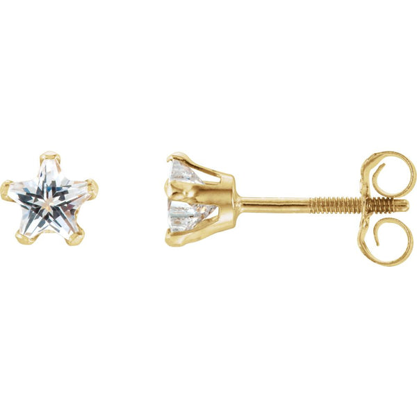 14k Yellow Gold Youth Cubic Zirconia Star Earrings