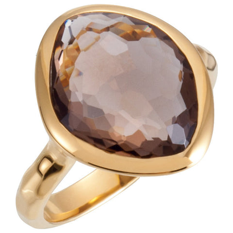 18K Yellow Gold Vermeil 15x11x6mm Smoky Quartz Ring Size 7
