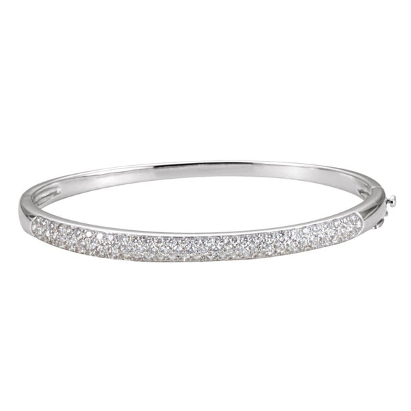 "14k White Gold 1 1/2 CTW Diamond Bangle 7"" Bracelet"