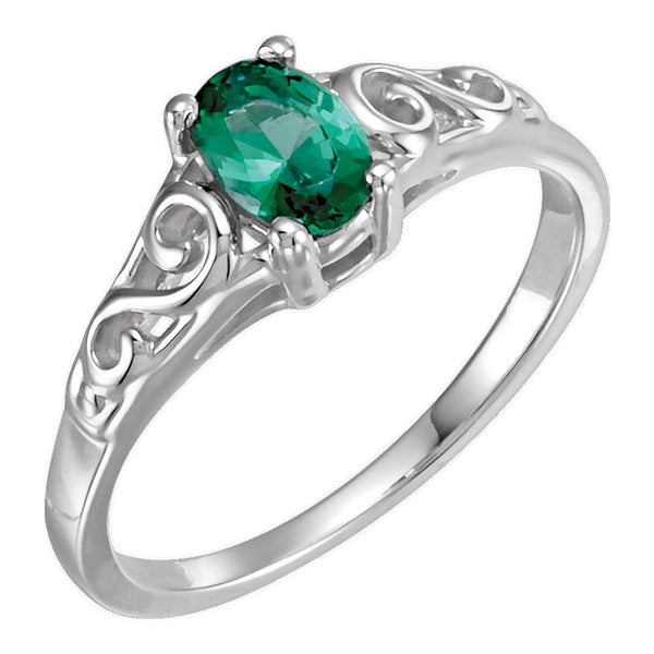 Sterling Silver May Imitation Birthstone Ring , Size 5