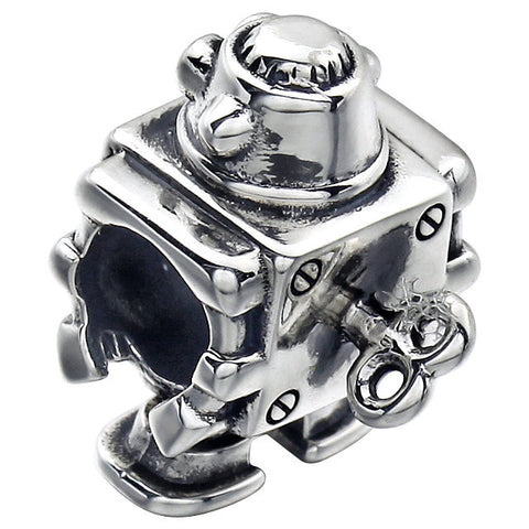 Sterling Silver 13.35x10.4mm Robot Bead