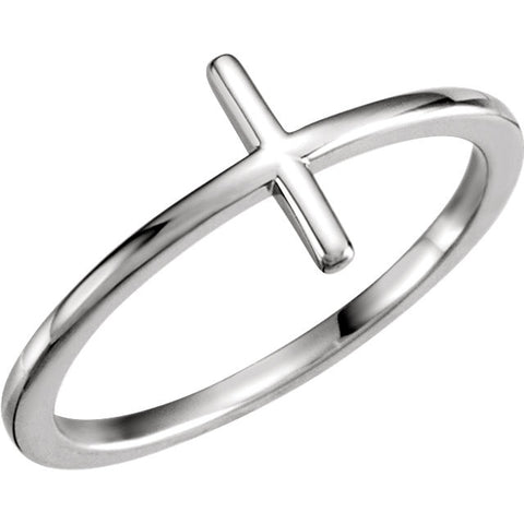 14k White Gold Sideways Cross Ring, Size 7