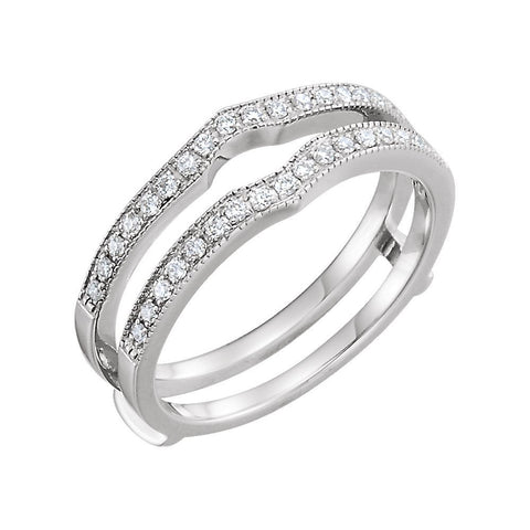 14k White Gold 1/4 CTW Diamond Ring Guard, Size 6