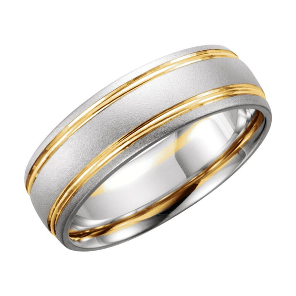 14K White & Yellow Gold 7mm Band Size 11