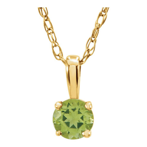 "14k Yellow Gold Imitation Peridot ""August"" Birthstone 14-inch Necklace for Kids"
