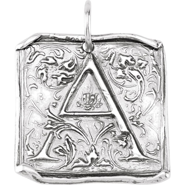 "Sterling Silver Initial ""A"" Vintage-Style Pendant"