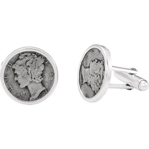 Sterling Silver Mercury Dime Coin Cuff Links