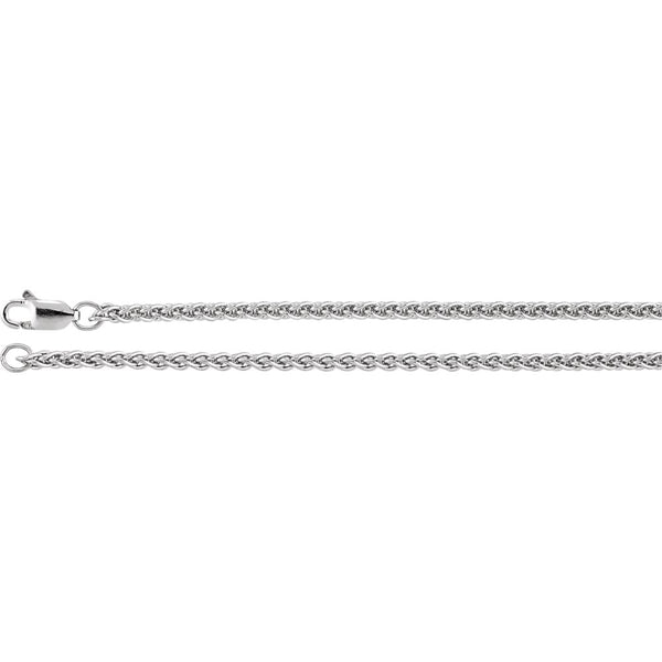 "Sterling Silver 2.4mm Wheat 7"" Chain"
