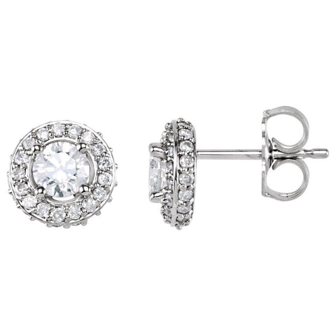 Pair of 7/8 CTTW Entourage Friction Post Stud Earrings in 14k White Gold