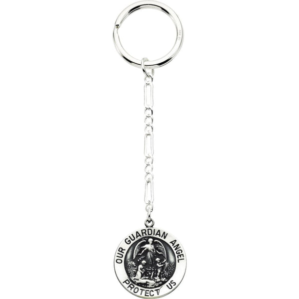 Sterling Silver 25mm Guardian Angel Key Chain