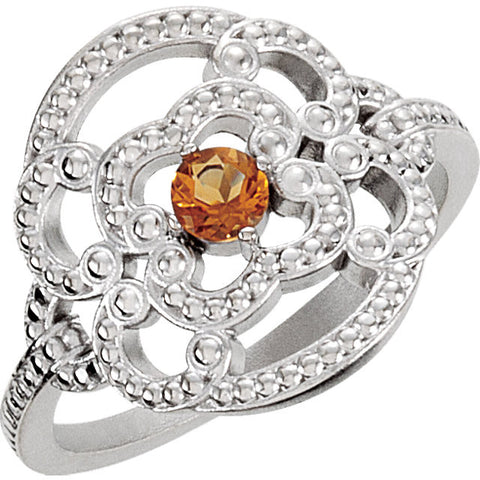 Sterling Silver Citrine Granulated Ring, Size 7