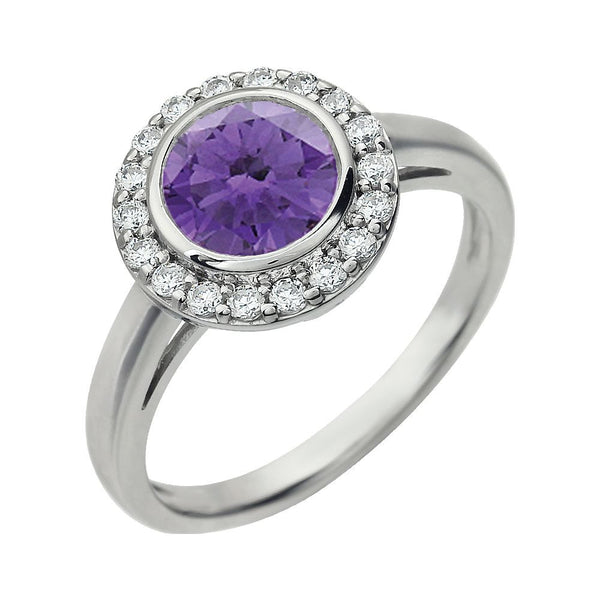 Sterling Silver Purple Cubic Zirconia Ring, Size 7