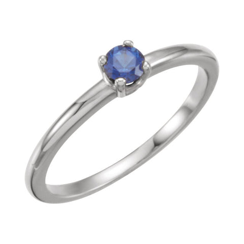 "14k White Gold Blue Sapphire ""September"" Kid's Birthstone Ring, Size 3"