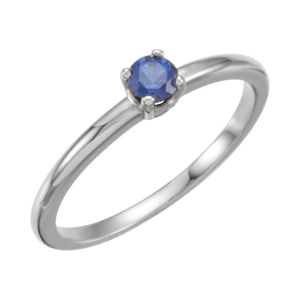 "Sterling Silver Imitation Blue Sapphire ""September"" Youth Birthstone Ring, Size 3"