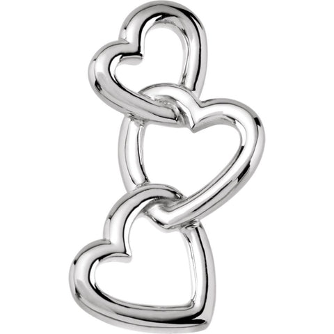 14k White Gold Linked Hearts Pendant
