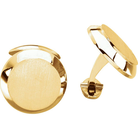 14k Yellow Gold Men's Cuff Link