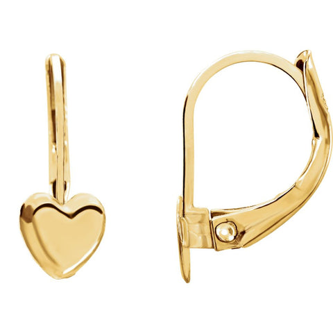 14K Yellow Gold Heart Lever Back Kids Earrings