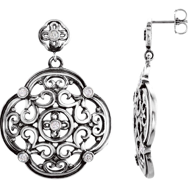 Sterling Silver 1/3 CTW Diamond Filigree Earrings