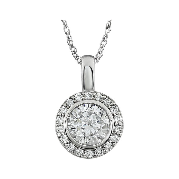 "Sterling Silver Cubic Zirconia 18"" Necklace"