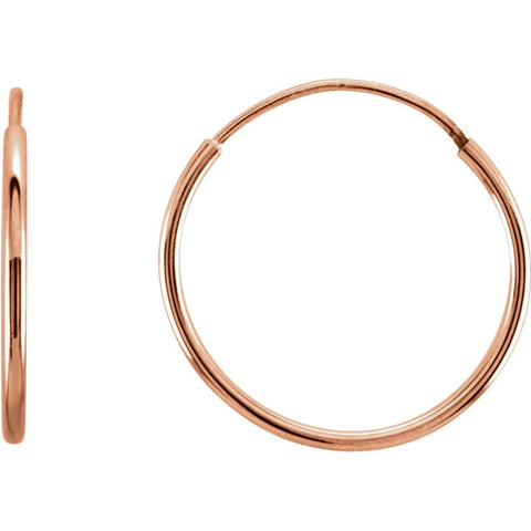 14k Rose Gold 15mm Endless Hoop Earrings