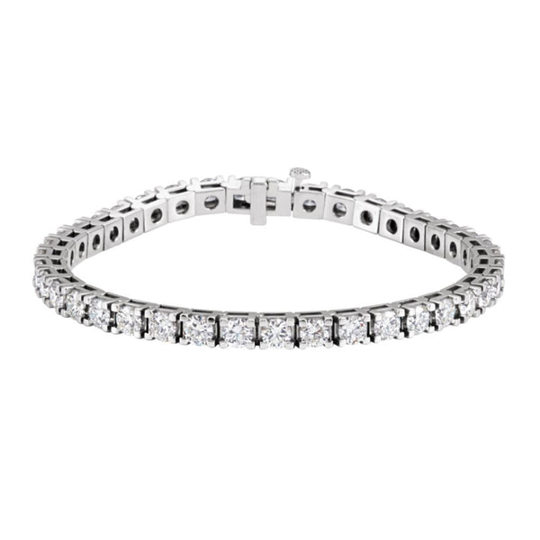 "14k White Gold 9 3/4 CTW Diamond Line 7.25"" Bracelet"