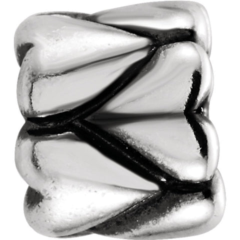 Sterling Silver Kera® Heart Accented Bead