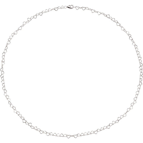 "Sterling Silver 4.5mm Heart Link 16"" Chain"