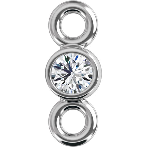 14k White Gold .03 CTW Diamond Micro Bezel Link
