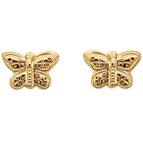 14k Yellow Gold 5x7mm Youth Butterfly Earrings