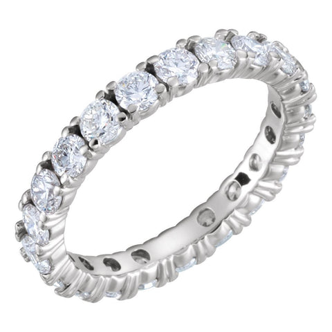 14k White Gold 2 CTW Diamond Eternity Band Size 6.5