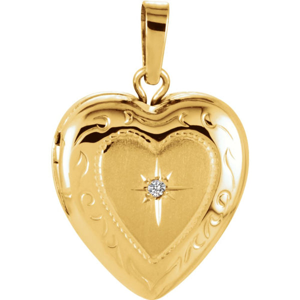 14k Yellow Gold .005 CTW Diamond Heart Shape Locket