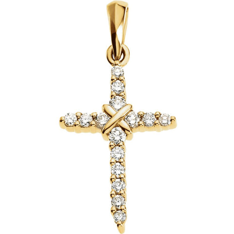 19.00x12.00 mm Cross Pendant with Diamond in 14K Yellow Gold