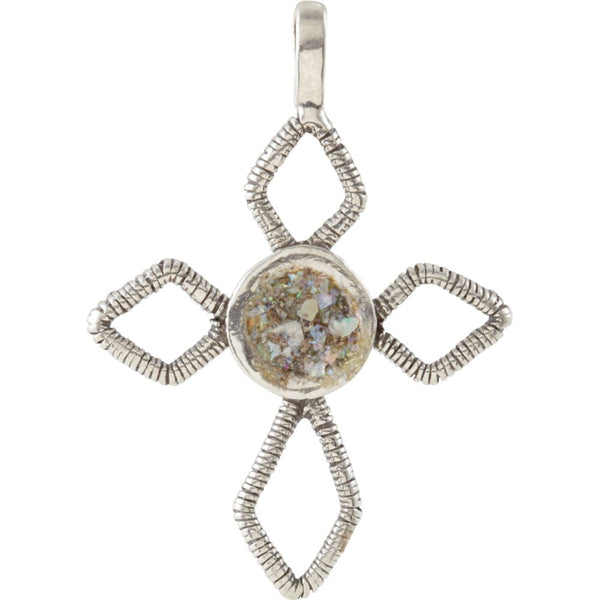 Sterling Silver Ancient Roman Glass Cross Pendant