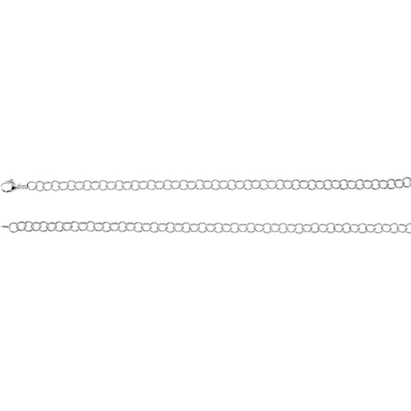 "Sterling Silver 6.25mm Ring Link Bracelet 7"" Chain"