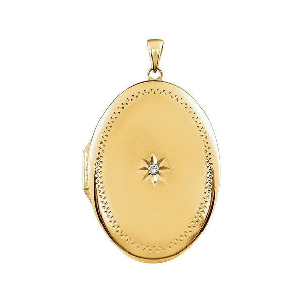 14K Yellow Gold-Plated Sterling Silver Cubic Zirconia Locket
